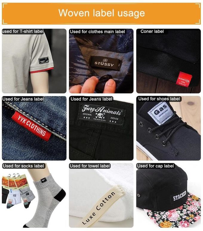 Clothing Brand Name Garment Woven Apparel Labels / Textile Labels For Clothing